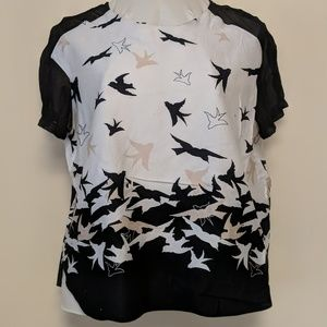 birds with sheer sleeves shirt 1x / 16 plus size